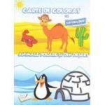 Carte de colorat cu abtibilduri | Animale polare si din desert