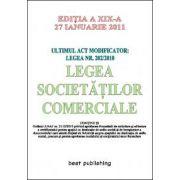 Legea societatilor comerciale - editia a XIX-a - verificat si retiparit fara modificari - 27 ianuarie 2011
