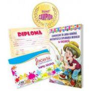 Pachet de baza pentru clasa I - Caiet de vacanta cu diploma, medalie si caiet cu jocuri amuzante